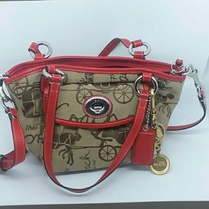 COACH Khaki & Red Horse & Carriage Leather Purse
